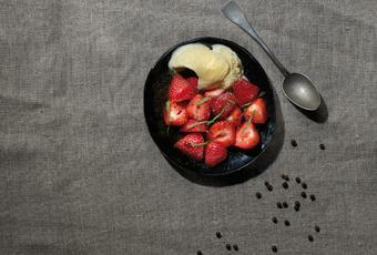Strawberry salad, balsamic vinegar, vanilla ice cream