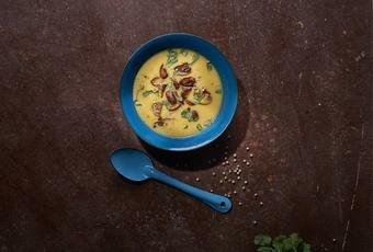 Cream of pumpkin soup, cinnamon, button mushrooms
