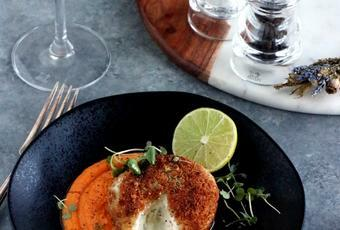 Hazelnut-Crusted Goat Cheese with Orange Carrot Puree